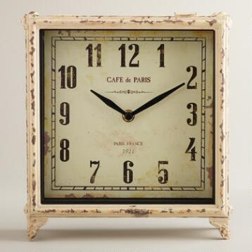 Ivory Square Retro Tilly Tabletop Clock